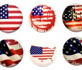 USA Flag - 6 Piece Home Button Decal Stickers for Apple iPhone, iPad, iPad Mini, iTouch