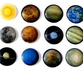 Solar Galaxy Planets - 12 Pieces 3D Semi-circular Home Button iPhone iPad Decals Stickers