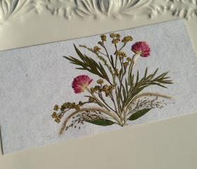 Pink - Handmade Pressed Flowers Card