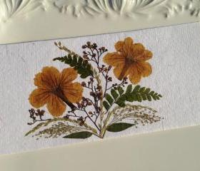 Orange - Handmade Pressed Flowers Card