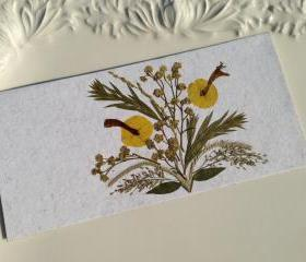 Yellow - Handmade Pressed Flowers Card
