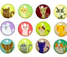 Kitty Cat - 12 Pieces 3D Semi-circular Home Button iPhone iPad Decals Stickers