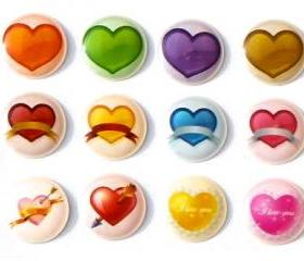 Love Hearts - 12 Pieces 3D Semi-circular iPhone iPad Home Button Decals Stickers
